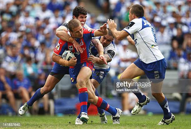 Matt Hilder of the Knights is tackled by Michael Ennis of the Bulldogs during the round four NRL match between the CanterburyBankstown Bulldogs and...