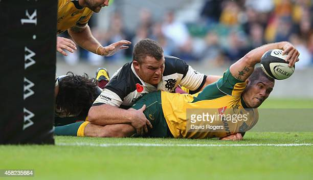 Matt Hodgson of Australia stretches for the tryline but his effort was disallowed during the Killick Cup match between the Barbarians and Australian...