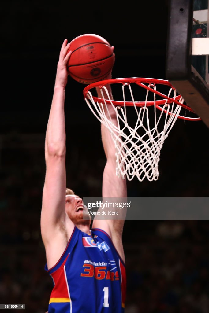 Matt Hodgson of the Adelaide 36ers dunks the ball during the round 19 NBL match between the Adelaide 36ers and the Cairns Taipans at Titanium Security Arena on February 11, 2017 in Adelaide, Australia.