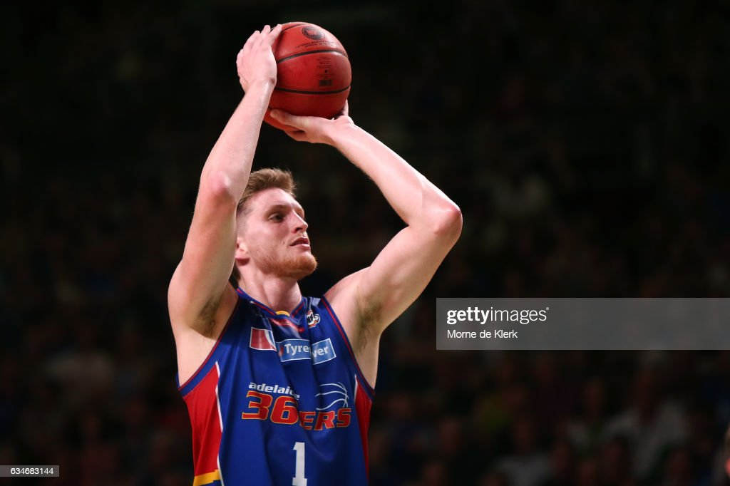 Matt Hodgson of the Adelaide 36ers shoots at the basket during the round 19 NBL match between the Adelaide 36ers and the Cairns Taipans at Titanium Security Arena on February 11, 2017 in Adelaide, Australia.