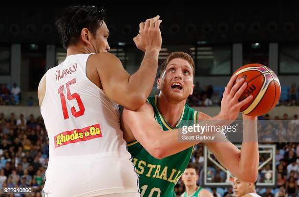 Matt Hodgson of the Boomers drives to the basket during the FIBA World Cup Qualifier match between the Australian Boomers and the Philippines at...