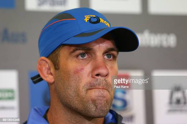 Matt Hodgson of the Force addresses the media after being defeated during the round 15 Super Rugby match between the Force and the Hurricanes at nib...