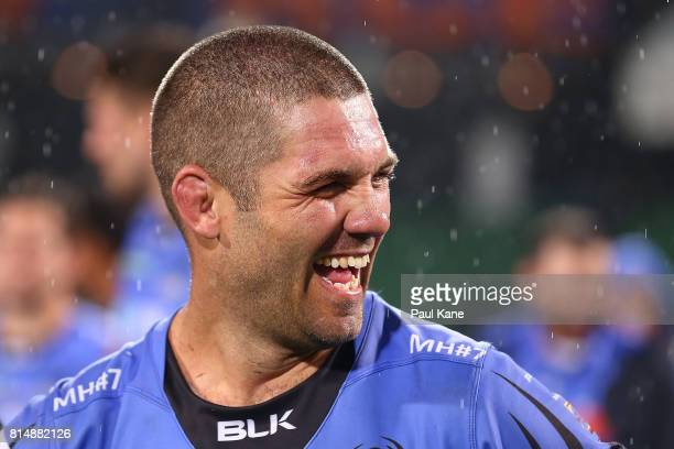 Matt Hodgson of the Force looks on after winning the round 17 Super Rugby match between the Force and the Waratahs at nib Stadium on July 15 2017 in...
