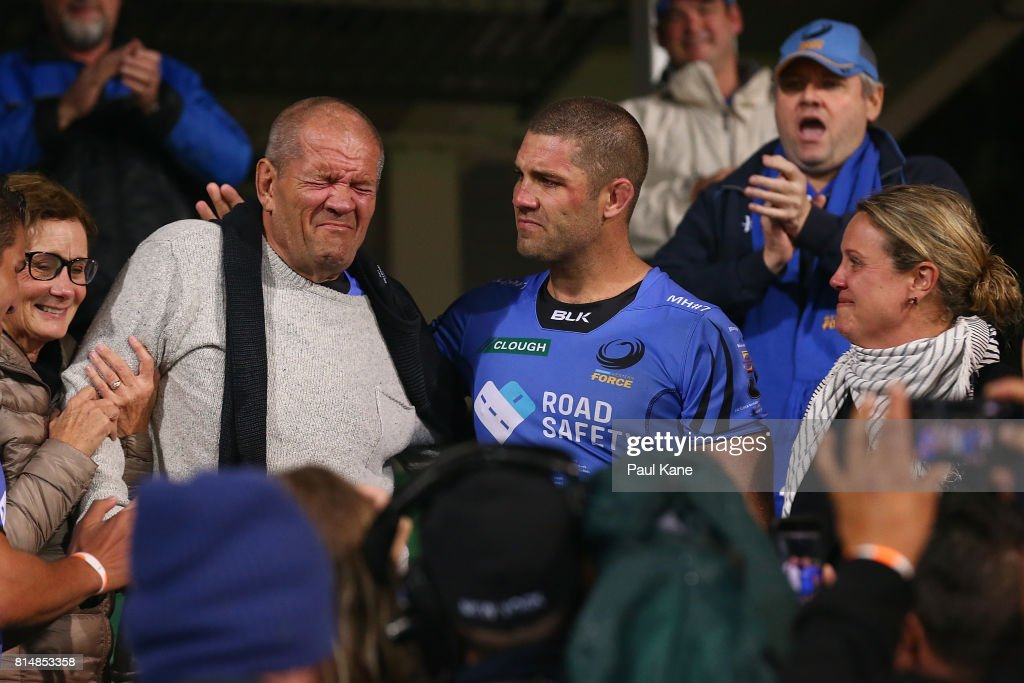Matt Hodgson of the Force shares a moment with his father Max after playing his final game and winning the round 17 Super Rugby match between the Force and the Waratahs at nib Stadium on July 15, 2017 in Perth, Australia.