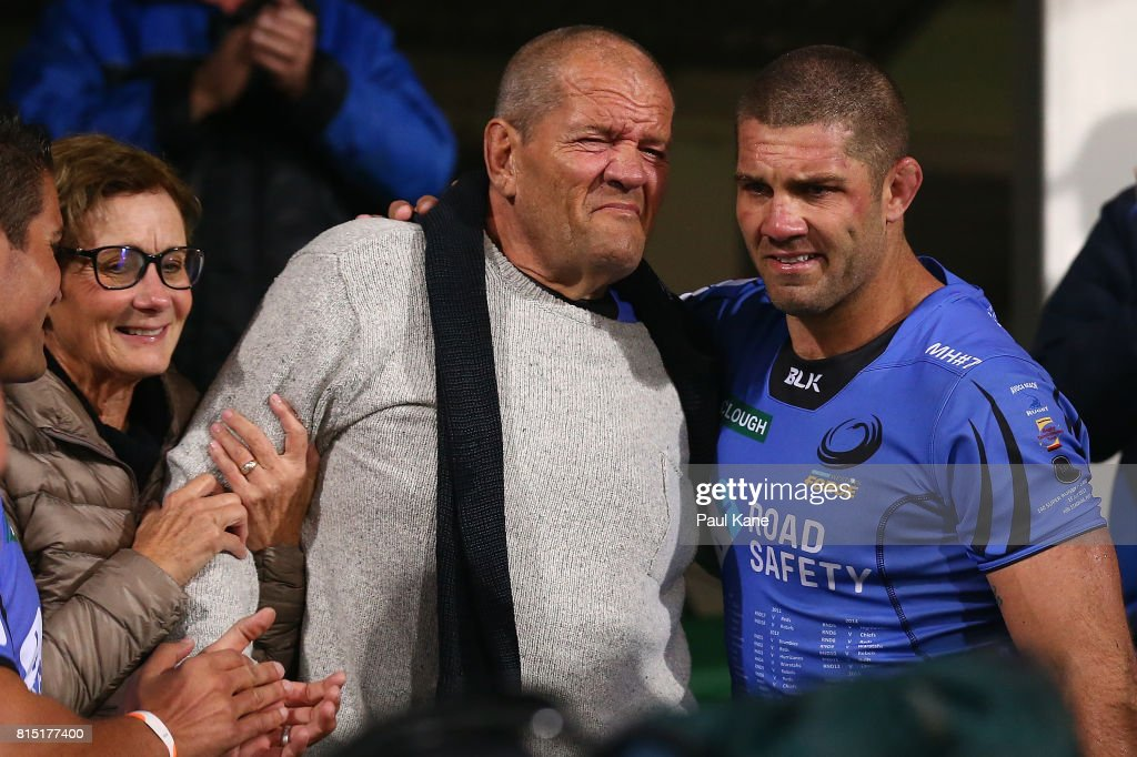 Matt Hodgson of the Force shares a moment with his parents after playing his final game and winning the round 17 Super Rugby match between the Force and the Waratahs at nib Stadium on July 15, 2017 in Perth, Australia.