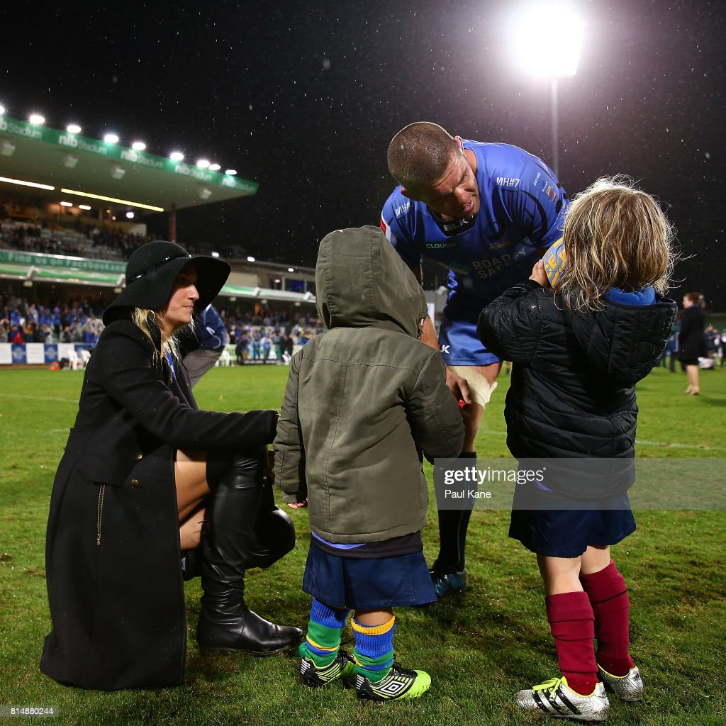 Matt Hodgson of the Force shares a moment with his wife Jodi and their children after playing his final game and winning the round 17 Super Rugby match between the Force and the Waratahs at nib Stadium on July 15, 2017 in Perth, Australia.