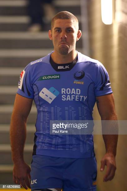 Matt Hodgson of the Force walks out to warm up before the round 17 Super Rugby match between the Force and the Waratahs at nib Stadium on July 15...