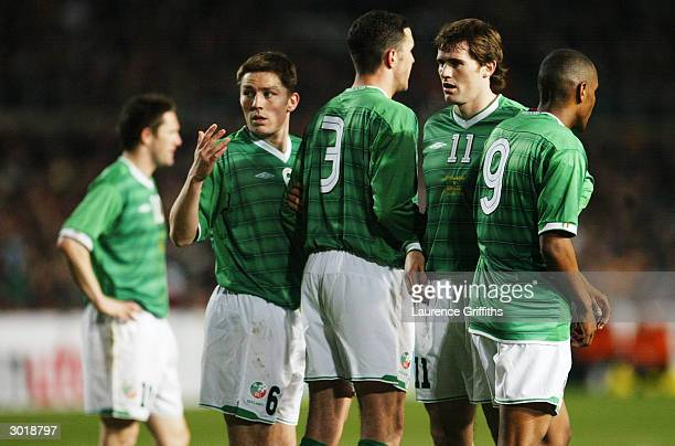 Matt Holland, John O'Shea, Kevin Kilbane, and Clinton Morrison of Republic of Ireland line-up in a defensive wall during the International Friendly...
