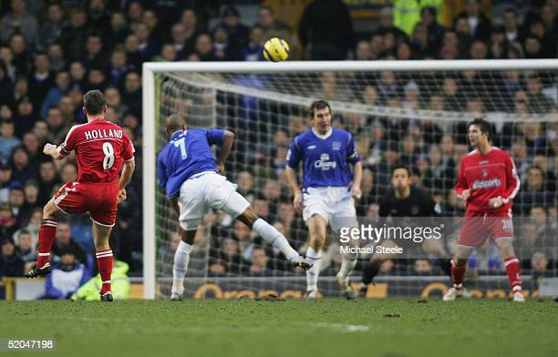 Matt Holland of Charlton scores the opening goal during the Barclays Premiership match between Everton and Charlton Athletic at Goodison Park on...