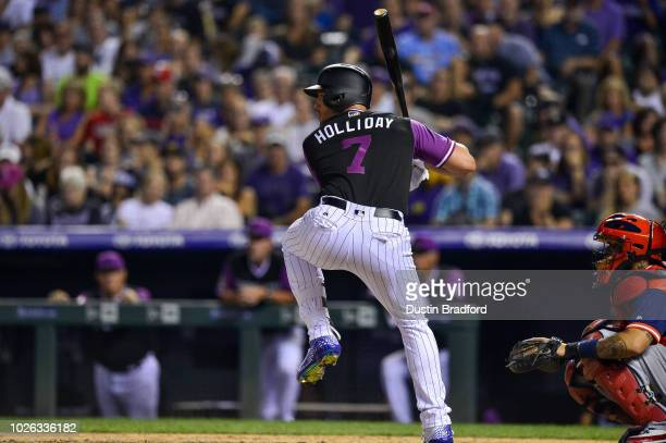 7ac84567f Matt Holliday of the Colorado Rockies bats against the St Louis Cardinals  during Players  Weekend
