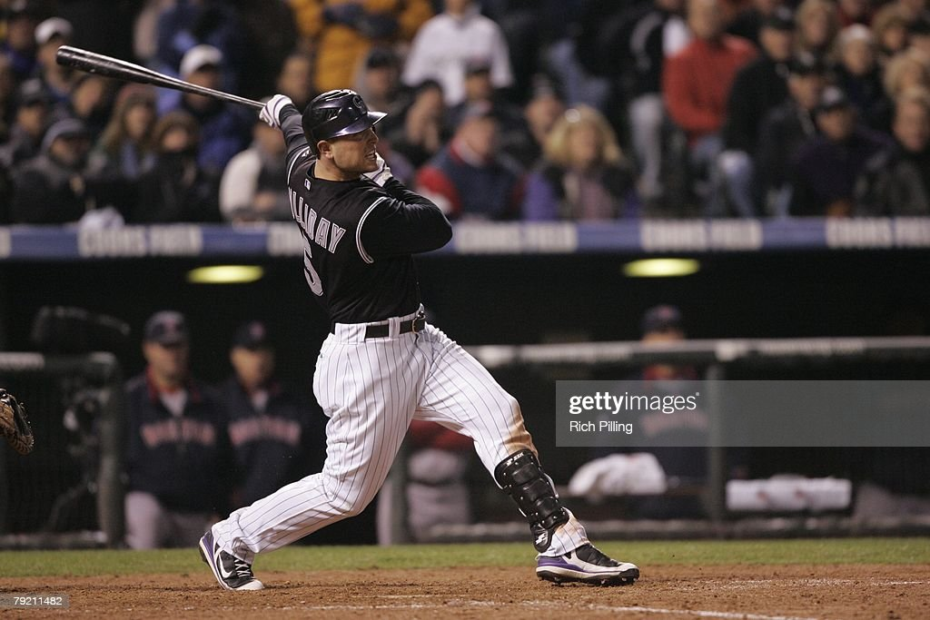 Matt Holliday of the Colorado Rockies hits a home run during Game Three of the 2007 World Series against the Boston Red Sox on October 28, 2007 at Coors Field in Denver, Colorado. The Red Sox defeated the Rockies 10-5.