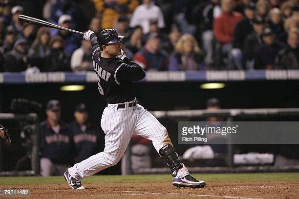 Matt Holliday of the Colorado Rockies hits a home run during Game Three of the 2007 World Series against the Boston Red Sox on October 28, 2007 at...