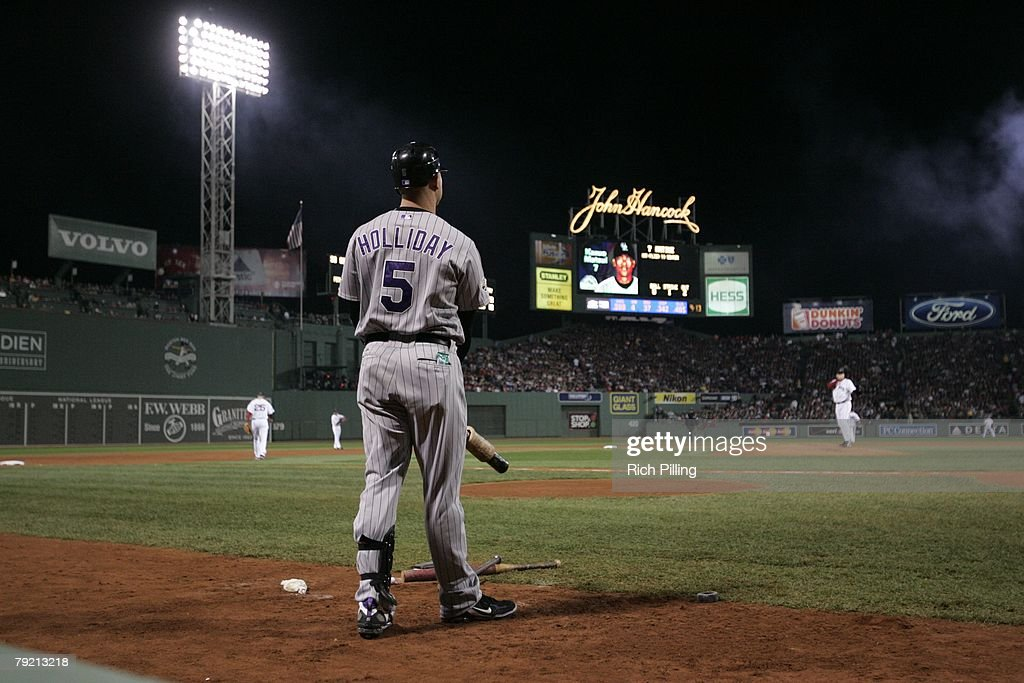 Matt Holliday of the Colorado Rockies in the on deck circle during Game Two of the 2007 World Series against the Boston Red Sox on October 25, 2007 at Fenway Park in Boston, Massachusetts. The Red Sox defeated the Rockies 2-1.