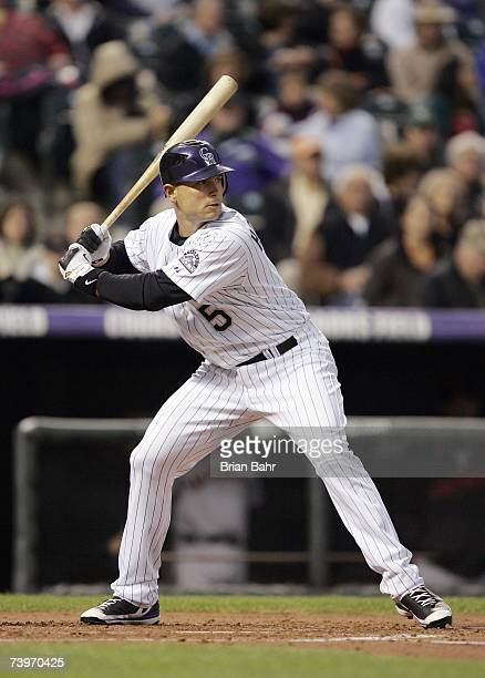 Matt Holliday of the Colorado Rockies stands ready at bat during the game against the San Francisco Giants on April 16 2007 at Coors Field in Denver...