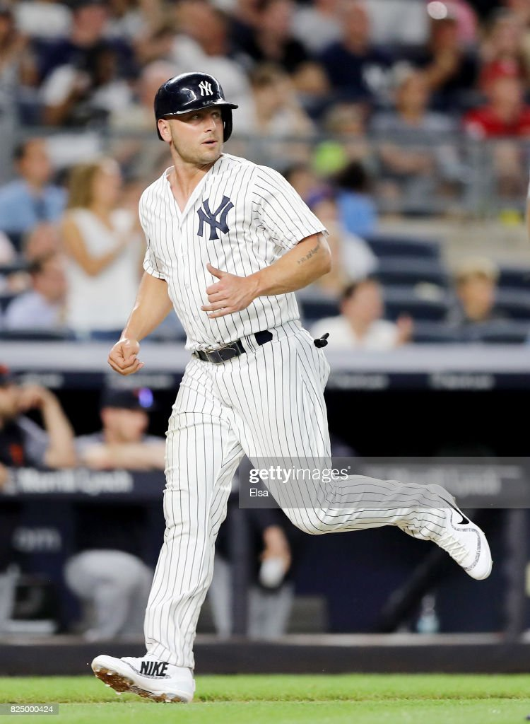 Matt Holliday #17 of the New York Yankees scores a run in the fourth inning against the Detroit Tigers on July 31, 2017 at Yankee Stadium in the Bronx borough of New York City.