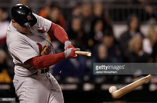 Matt Holliday of the St Louis Cardinals breaks his bat on a single against the Pittsburgh Pirates during the game on May 8, 2010 at PNC Park in...