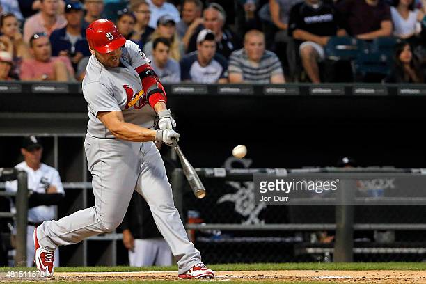 Matt Holliday of the St Louis Cardinals hits a grand slam against the Chicago White Sox during the fourth inning at US Cellular Field on July 21 2015...