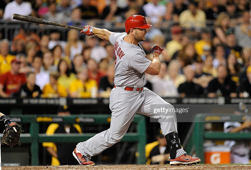 Matt Holliday #7 of the St. Louis Cardinals hits a two run single during the seventh inning against the Pittsburgh Pirates on August 25, 2014 at PNC Park in Pittsburgh, Pennsylvania.