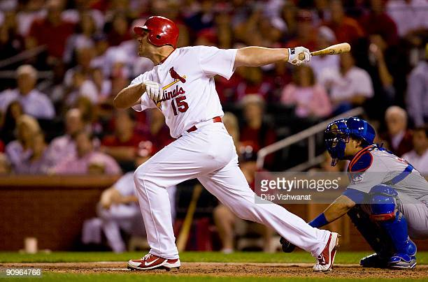 Matt Holliday of the St Louis Cardinals hits a walkoff solo home run against the Chicago Cubs on September 18 2009 at Busch Stadium in St Louis...