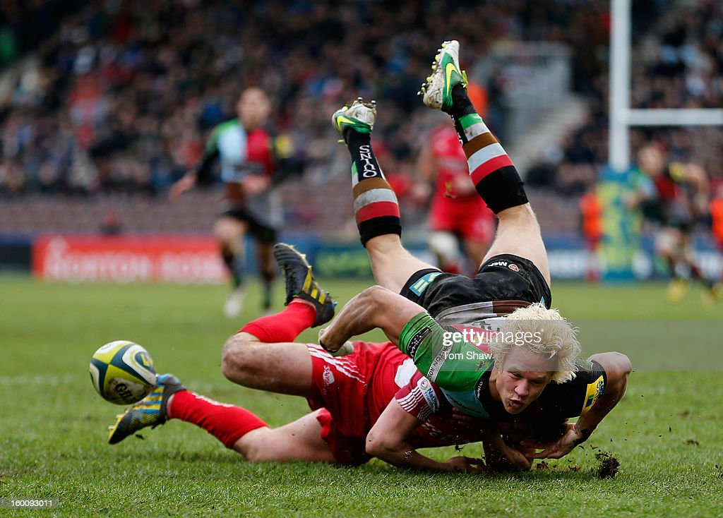 Matt Hopper of Quins is upended during the LV= Cup match between Harlequins and London Welsh at Twickenham Stoop on January 26, 2013 in London, England.