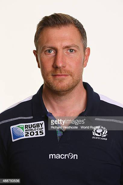 Matt Horler of Scotland during the Scotland Rugby World Cup 2015 squad photo call at the Hilton Puckrup Hall Hotel on September 17 2015 in Tewkesbury...