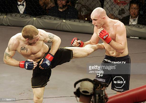 """Matt Horwich delivers a kick to Brian Ebersole during the """"StrikeForce"""" professional mixed martial arts event March 10, 2006 at HP Pavilion in San..."""