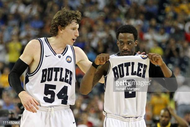 Matt Howard and Shawn Vanzant of the Butler Bulldogs celebrate after defeating the Virginia Commonwealth Rams during the National Semifinal game of...