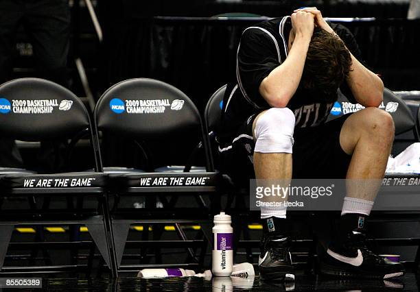 Matt Howard of the Butler Bulldogs sits dejected on the bench after their 75-71 loss to the Louisiana State University Tigers during the first round...