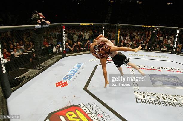 Matt Hughes battles Frank Trigg during UFC 52 at the MGM Grand Garden Arena on April 16 2005 in Las Vegas Nevada