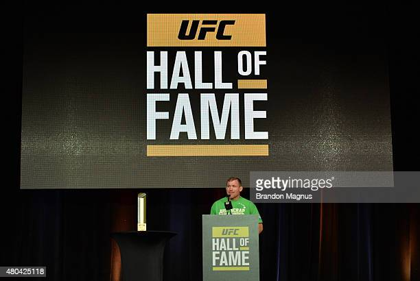 Matt Hughes gives his introduction speech for BJ Penn before he is inducted into the UFC Hall of Fame at the UFC Fan Expo in the Sands Expo and...