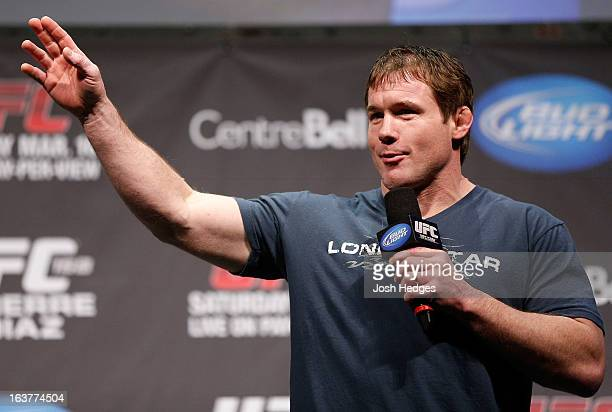 Matt Hughes interacts with fans during a QA session before the UFC 158 weighin at Bell Centre on March 15 2013 in Montreal Quebec Canada