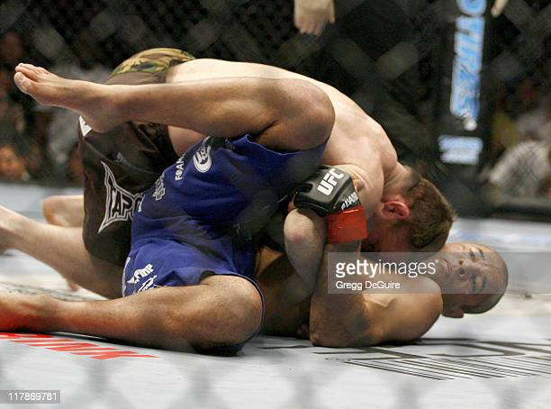 Matt Hughes winner of UFC 60 and Royce Gracie during Ultimate Fighting Championship 60 Hughes vs Gracie at Staples Center in Los Angeles California...