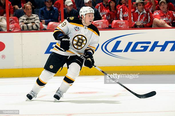 Matt Hunwick of the Boston Bruins skates down the ice against the Washington Capitals at Verizon Center on September 28 2010 in Washington DC