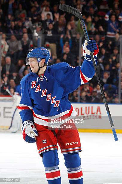 Matt Hunwick of the New York Rangers celebrates after his first goal as a New York Ranger in the third period against the Florida Panthers at Madison...
