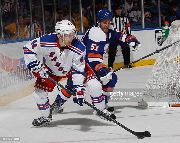 Matt Hunwick of the New York Rangers skates against the New York Islanders at the Nassau Veterans Memorial Coliseum on January 27 2015 in Uniondale...