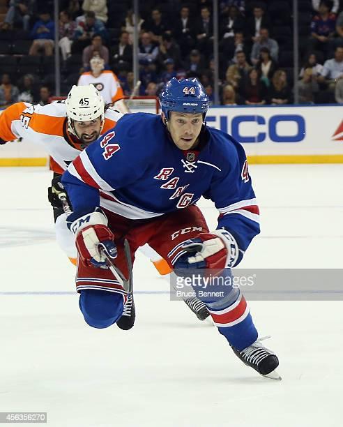 Matt Hunwick of the New York Rangers skates against the Philadelphia Flyers at Madison Square Garden on September 29 2014 in New York City The...
