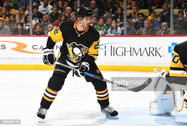 Matt Hunwick of the Pittsburgh Penguins skates against the Columbus Blue Jackets at PPG Paints Arena on December 21 2017 in Pittsburgh Pennsylvania