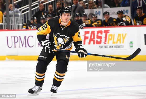 Matt Hunwick of the Pittsburgh Penguins skates against the Florida Panthers at PPG Paints Arena on October 14 2017 in Pittsburgh Pennsylvania
