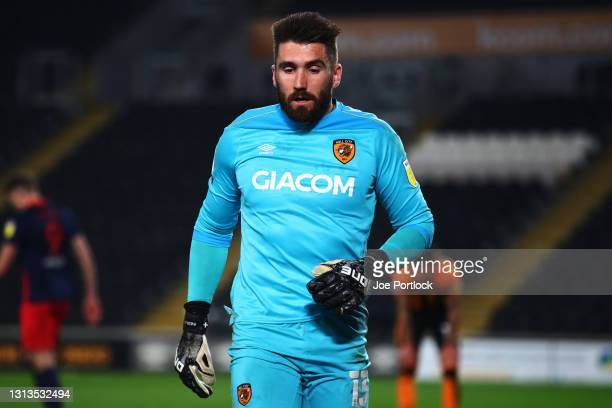 Matt Ingram of Hull City during the Sky Bet League One match between Hull City and Sunderland at KCOM Stadium on April 20, 2021 in Hull, England....