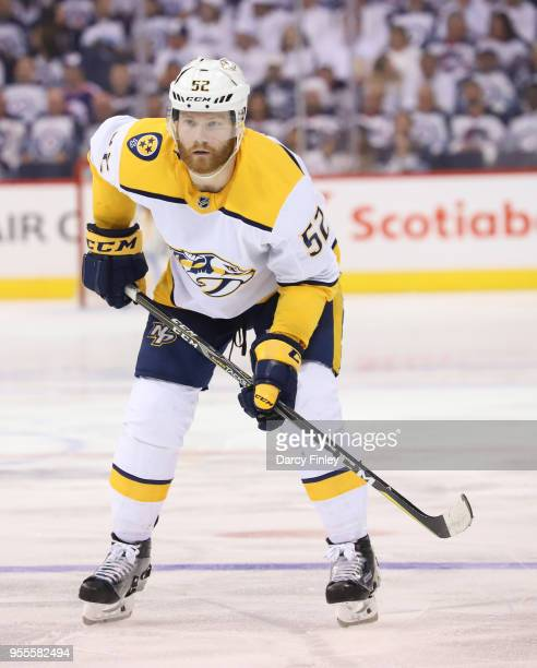 Matt Irwin of the Nashville Predators gets set during a second period faceoff against the Winnipeg Jets in Game Four of the Western Conference Second...