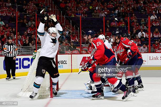 Matt Irwin of the San Jose Sharks celebrates after scoring his second goal of the game in the first period against the Washington Capitals during an...