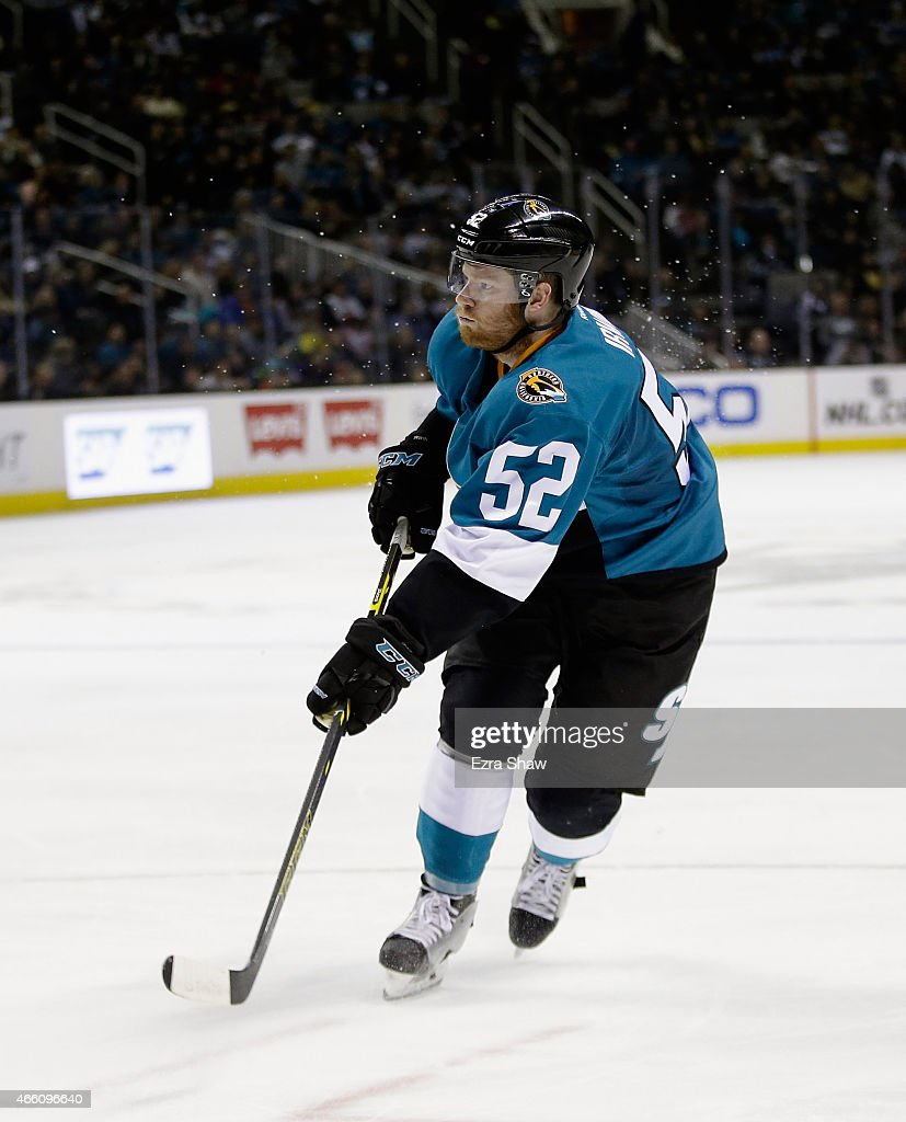 Matt Irwin #52 of the San Jose Sharks in action against the Ottawa Senators at SAP Center on February 28, 2015 in San Jose, California.