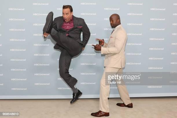 Matt Iseman and Akbar GbajaBiamila attend the 2018 NBCUniversal Upfront Presentation at Rockefeller Center on May 14 2018 in New York City