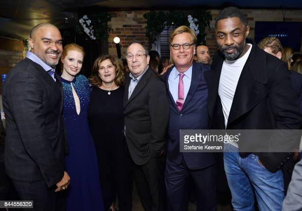 Matt Jackson Jessica Chastain Amy Pascal Mark Gordon Aaron Sorkin and Idris Elba attend MOLLY'S GAME premiere party hosted by GREY GOOSE Vodka at The...