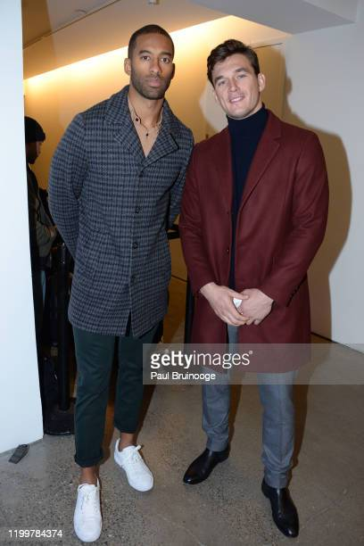 Matt James and Tyler Cameron attend The Blonds A/W 20 Fashion Show on February 9 2020 at Spring Studios in New York City