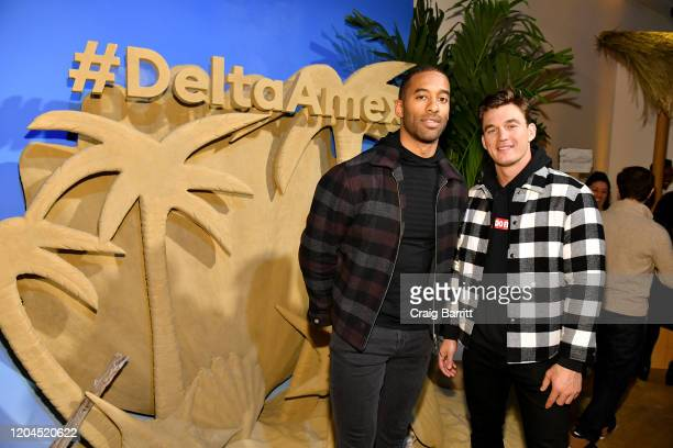 Matt James and Tyler Cameron attends the relaunch of The Delta SkyMiles® American Express Cards at Helen Mills Event Space on February 06 2020 in New...