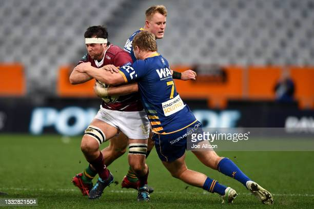Matt James of Southland runs into the defence during the round one Bunnings NPC match between Otago and Southland at Forsyth Barr Stadium, on August...