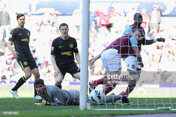 Matt Jarvis of West Ham scores a goal during the Barclays Premier League match between West Ham United and Wigan Athletic at the Boleyn Ground on...