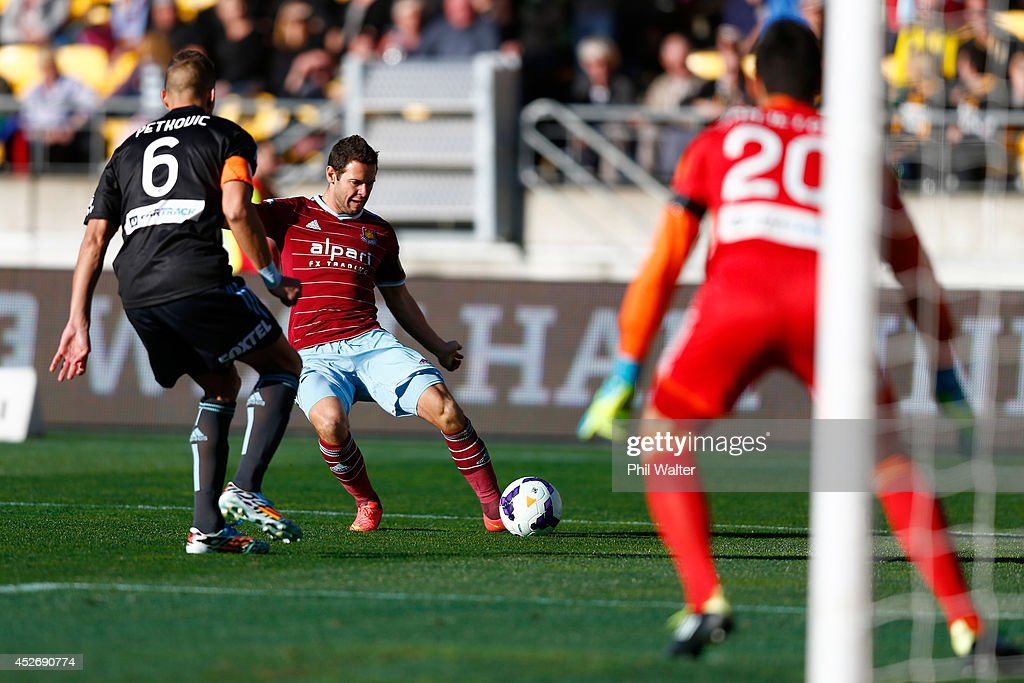 Matt Jarvis of West Ham scores a goal during the Football United New Zealand Tour match between Sydney FC and West Ham United at Westpac Stadium on July 26, 2014 in Wellington, New Zealand.