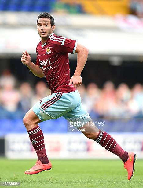 Matt Jarvis of West Ham United in action during the preseason friendly match between Ipswich Town and West Ham United at Portman Road on July 16 2014...